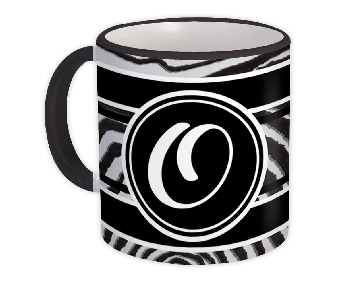 Monogram Letter O : Gift Mug Zebra Black Letter Initial ABC Animal
