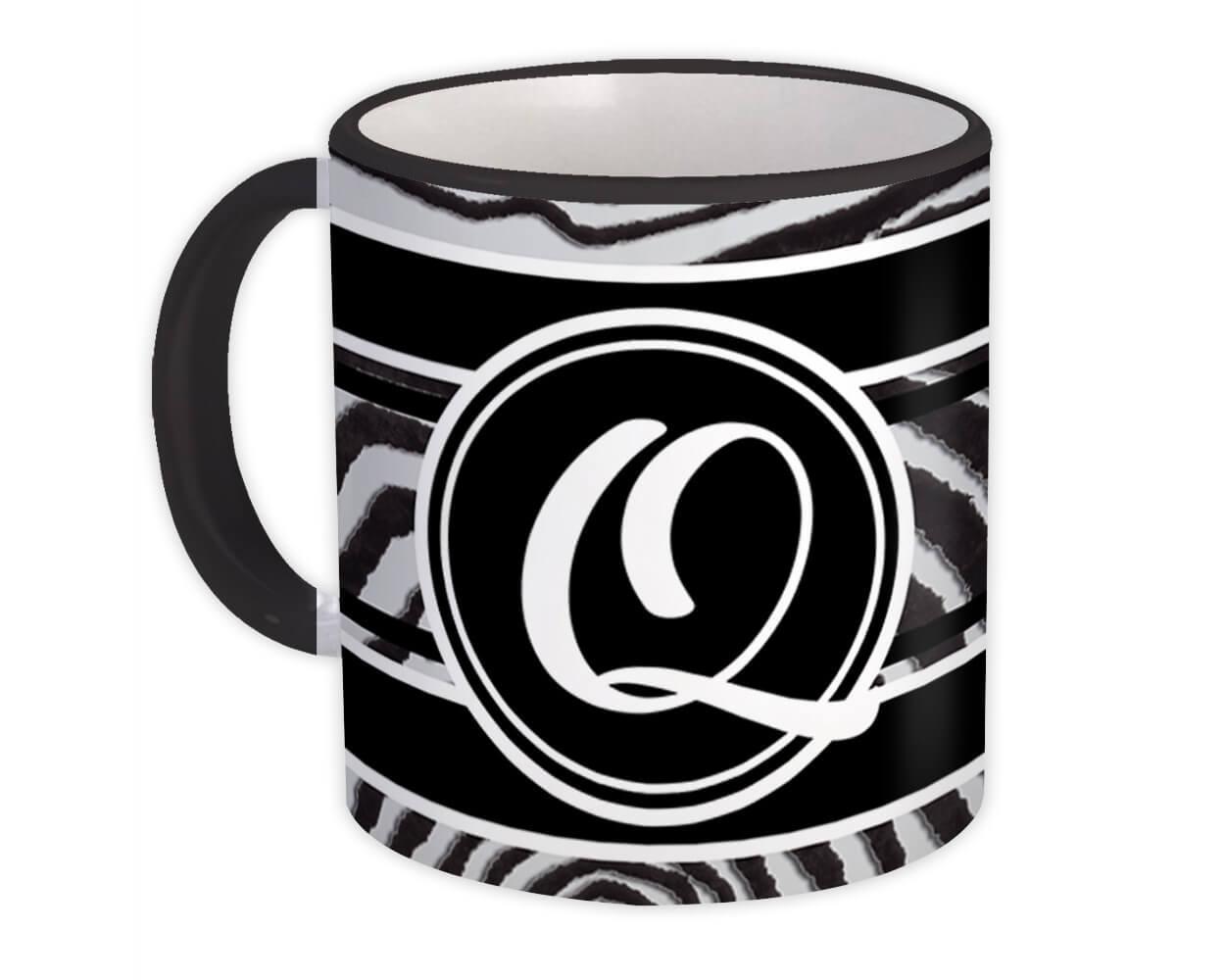Monogram Letter Q : Gift Mug Zebra Black Letter Initial ABC Animal