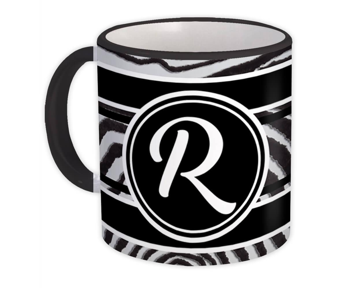 Monogram Letter R : Gift Mug Zebra Black Letter Initial ABC Animal