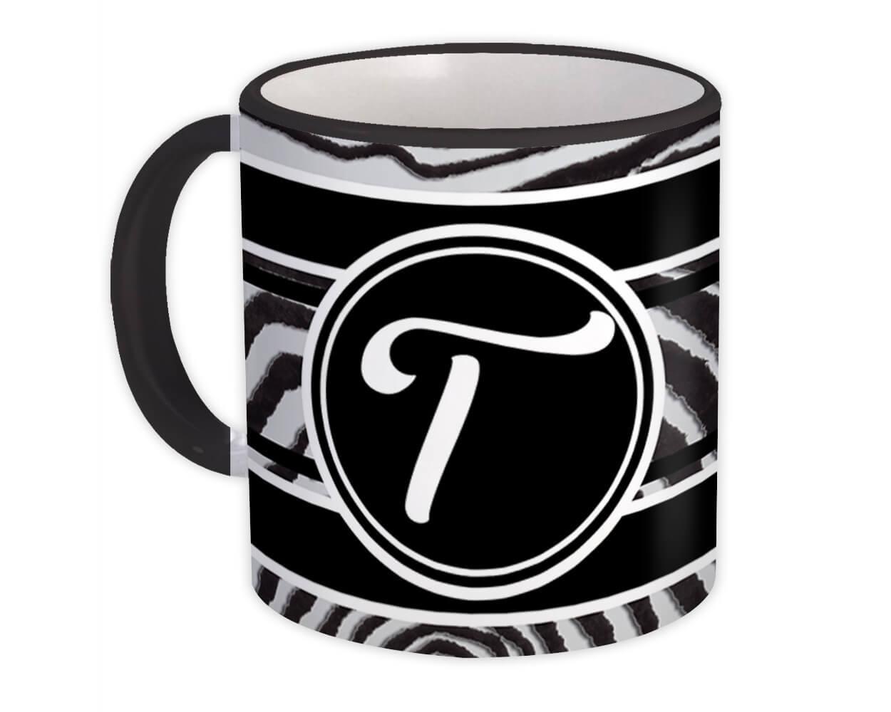 Monogram Letter T : Gift Mug Zebra Black Letter Initial ABC Animal