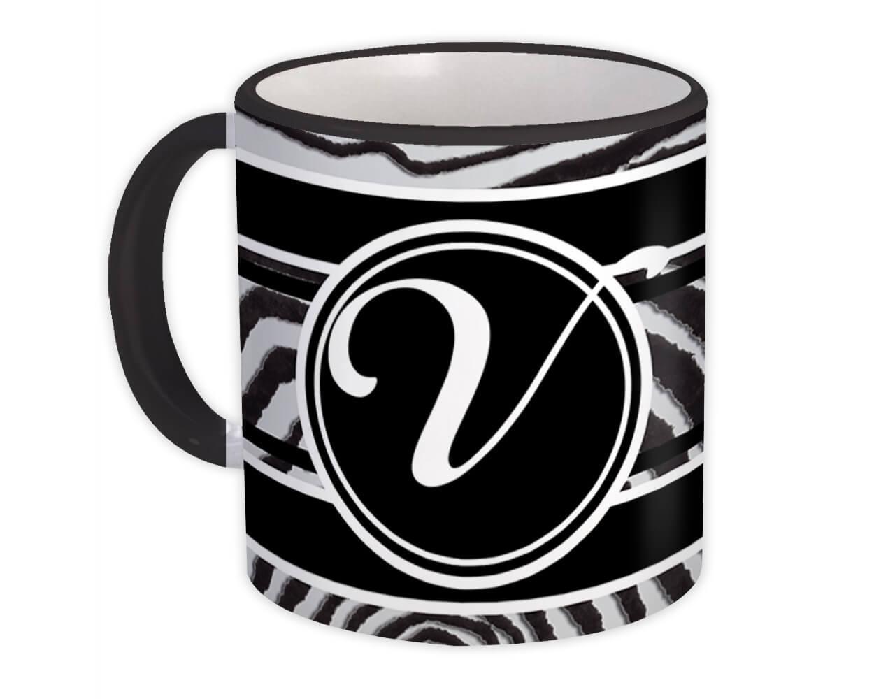 Monogram Letter V : Gift Mug Zebra Black Letter Initial ABC Animal