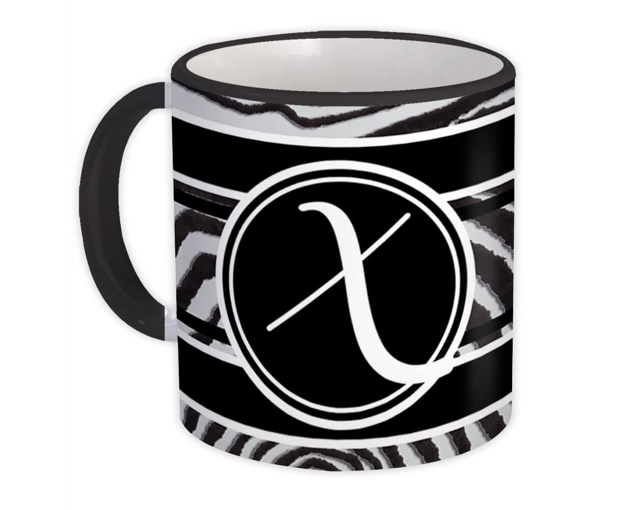 Monogram Letter X : Gift Mug Zebra Black Letter Initial ABC Animal