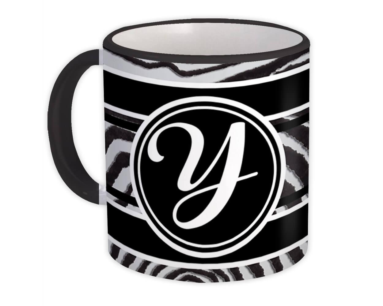 Monogram Letter Y : Gift Mug Zebra Black Letter Initial ABC Animal