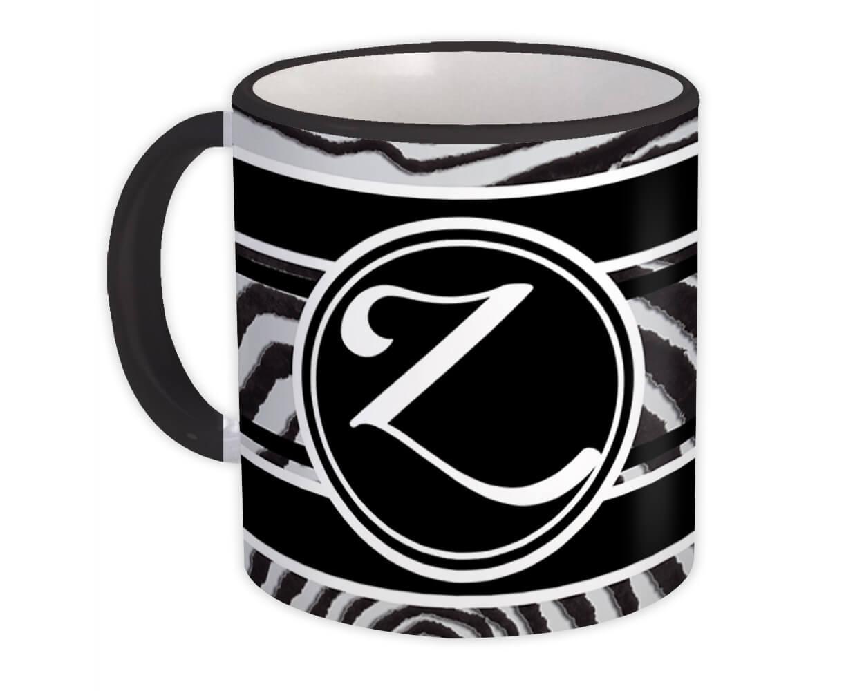 Monogram Letter Z : Gift Mug Zebra Black Letter Initial ABC Animal