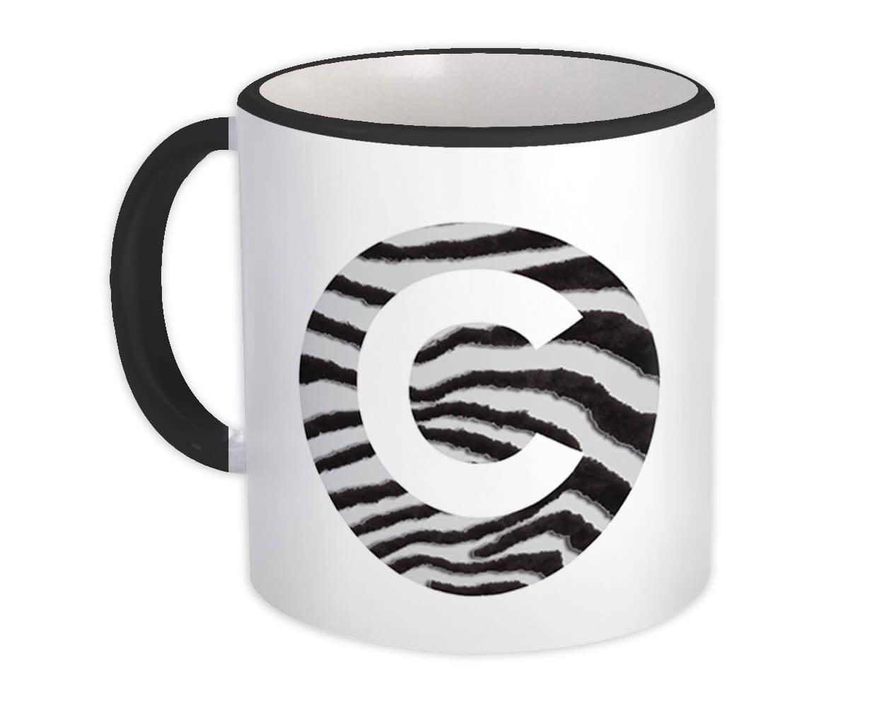 Monogram Letter C : Gift Mug Zebra Letter Initial ABC Animal Circle
