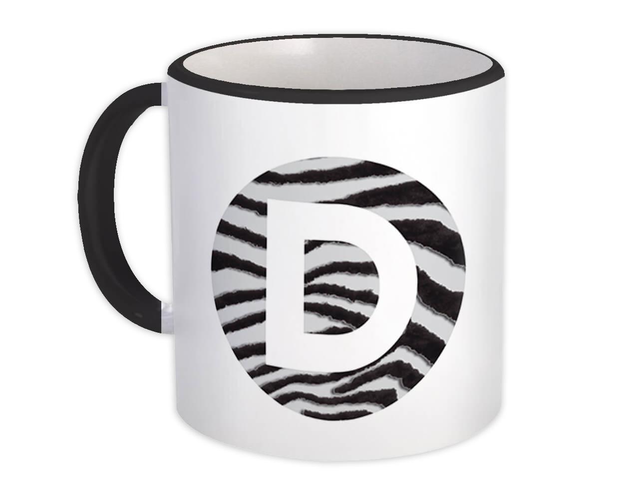 Monogram Letter D : Gift Mug Zebra Letter Initial ABC Animal Circle