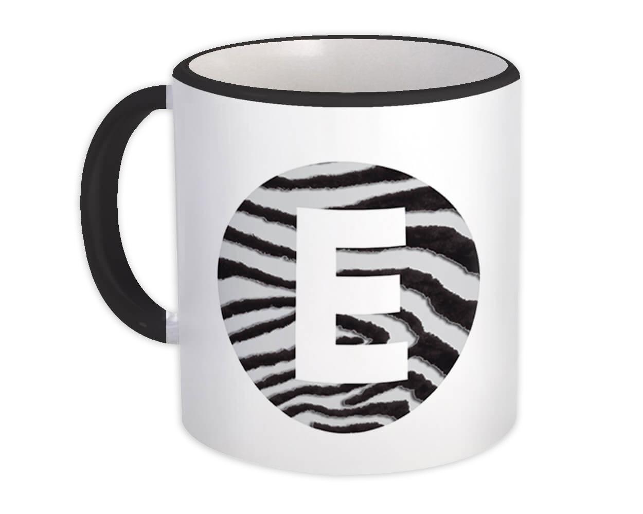 Monogram Letter E : Gift Mug Zebra Letter Initial ABC Animal Circle