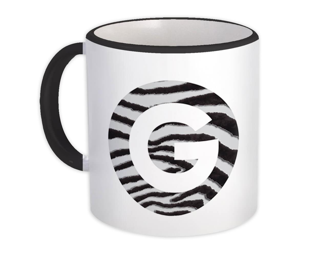 Monogram Letter G : Gift Mug Zebra Letter Initial ABC Animal Circle