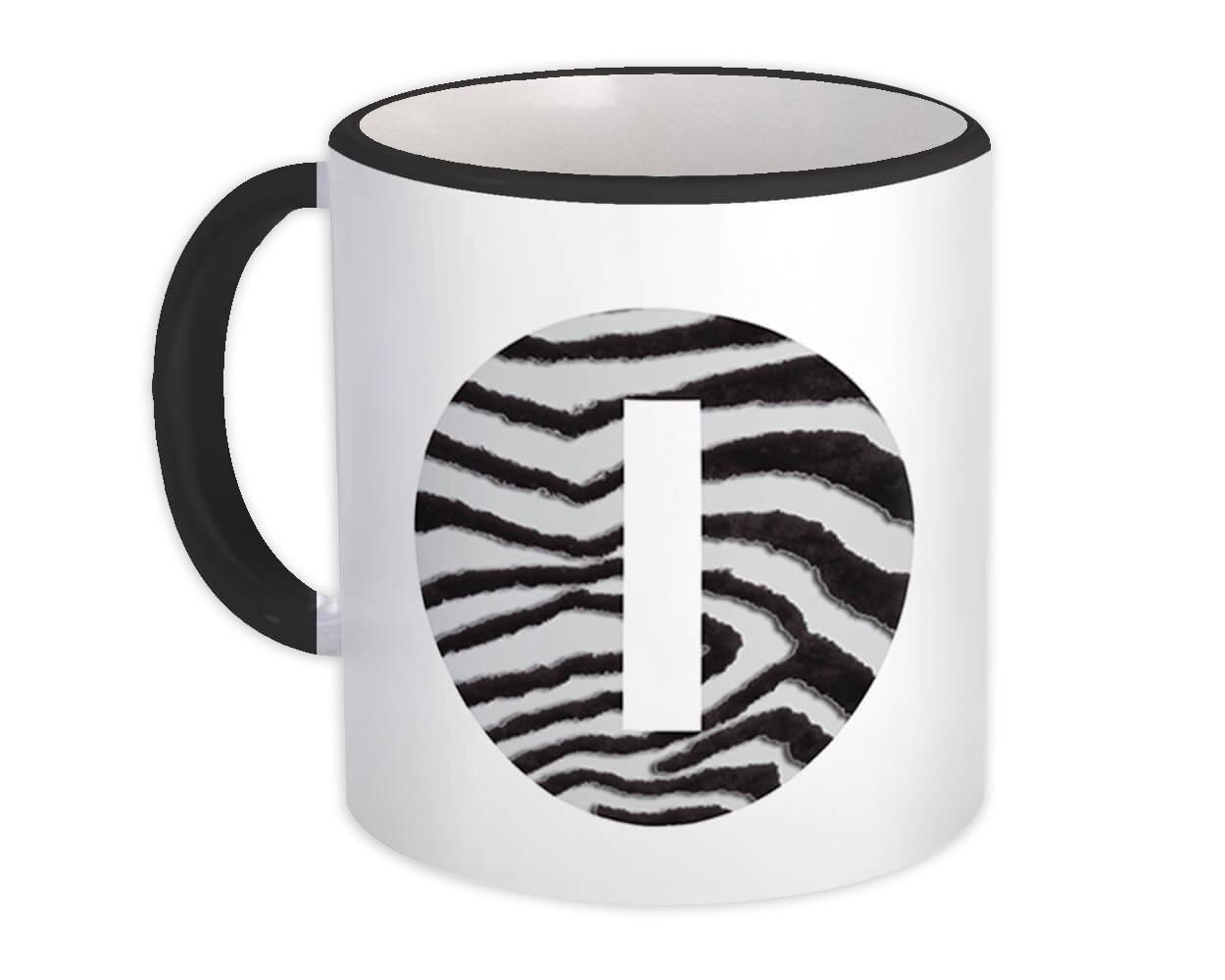 Monogram Letter I : Gift Mug Zebra Letter Initial ABC Animal Circle