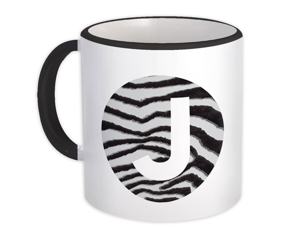 Monogram Letter J : Gift Mug Zebra Letter Initial ABC Animal Circle