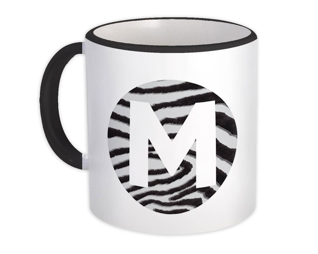Monogram Letter M : Gift Mug Zebra Letter Initial ABC Animal Circle