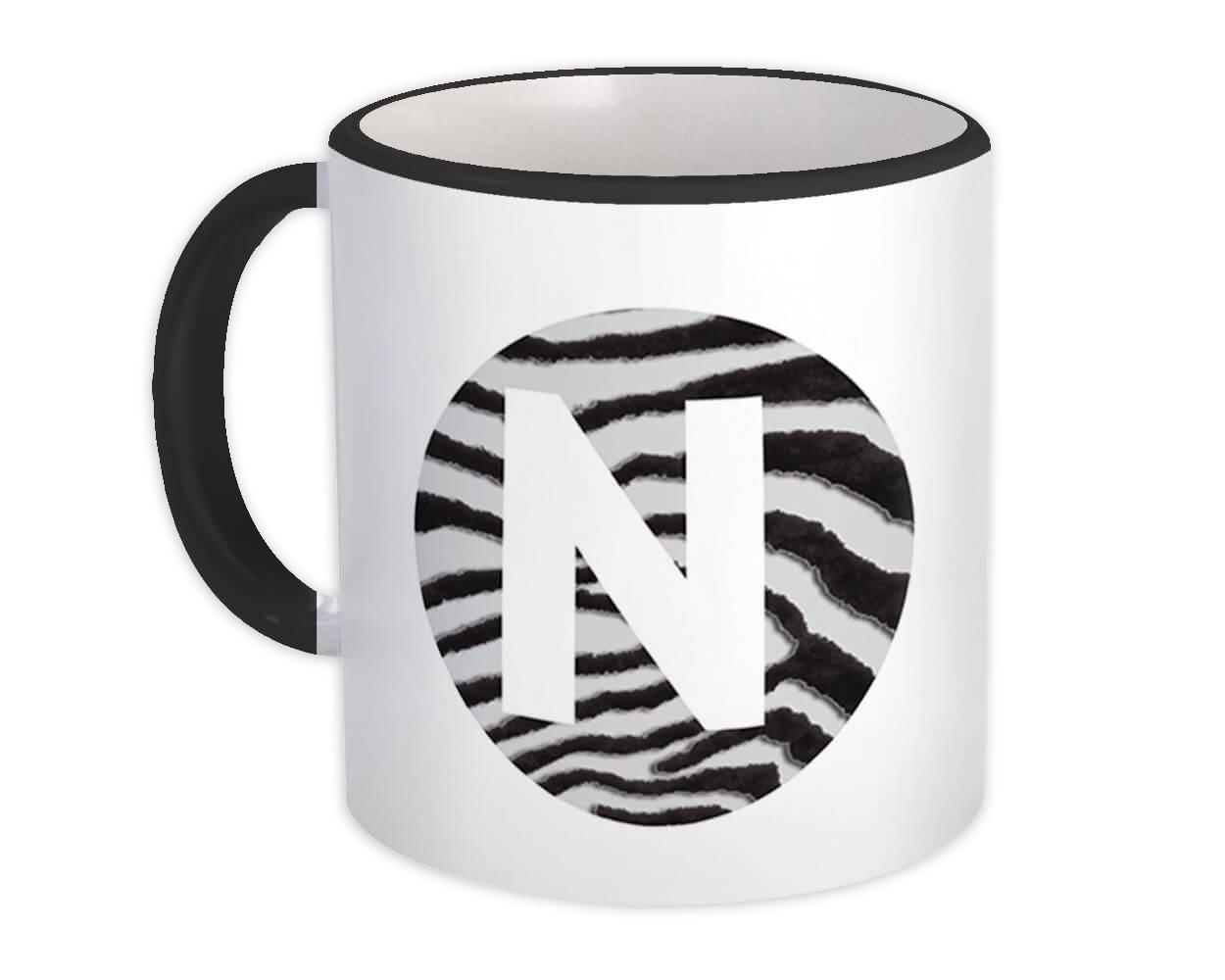 Monogram Letter N : Gift Mug Zebra Letter Initial ABC Animal Circle