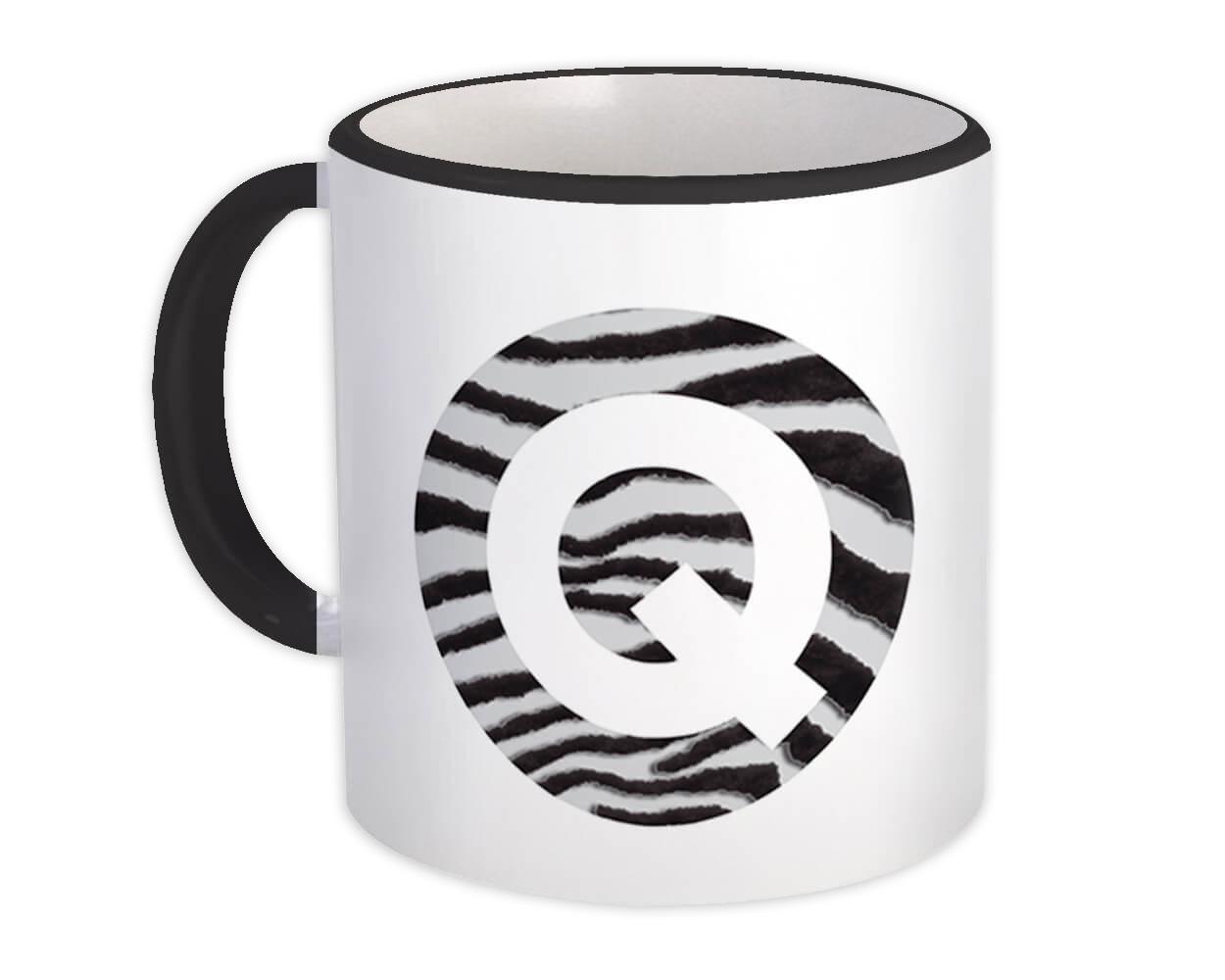 Monogram Letter Q : Gift Mug Zebra Letter Initial ABC Animal Circle