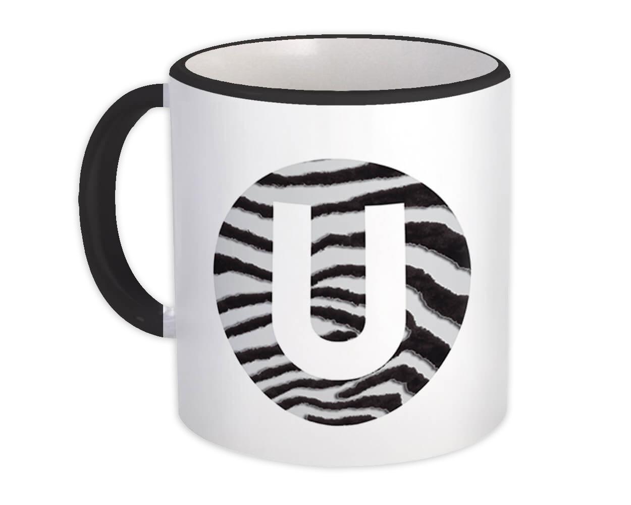 Monogram Letter U : Gift Mug Zebra Letter Initial ABC Animal Circle