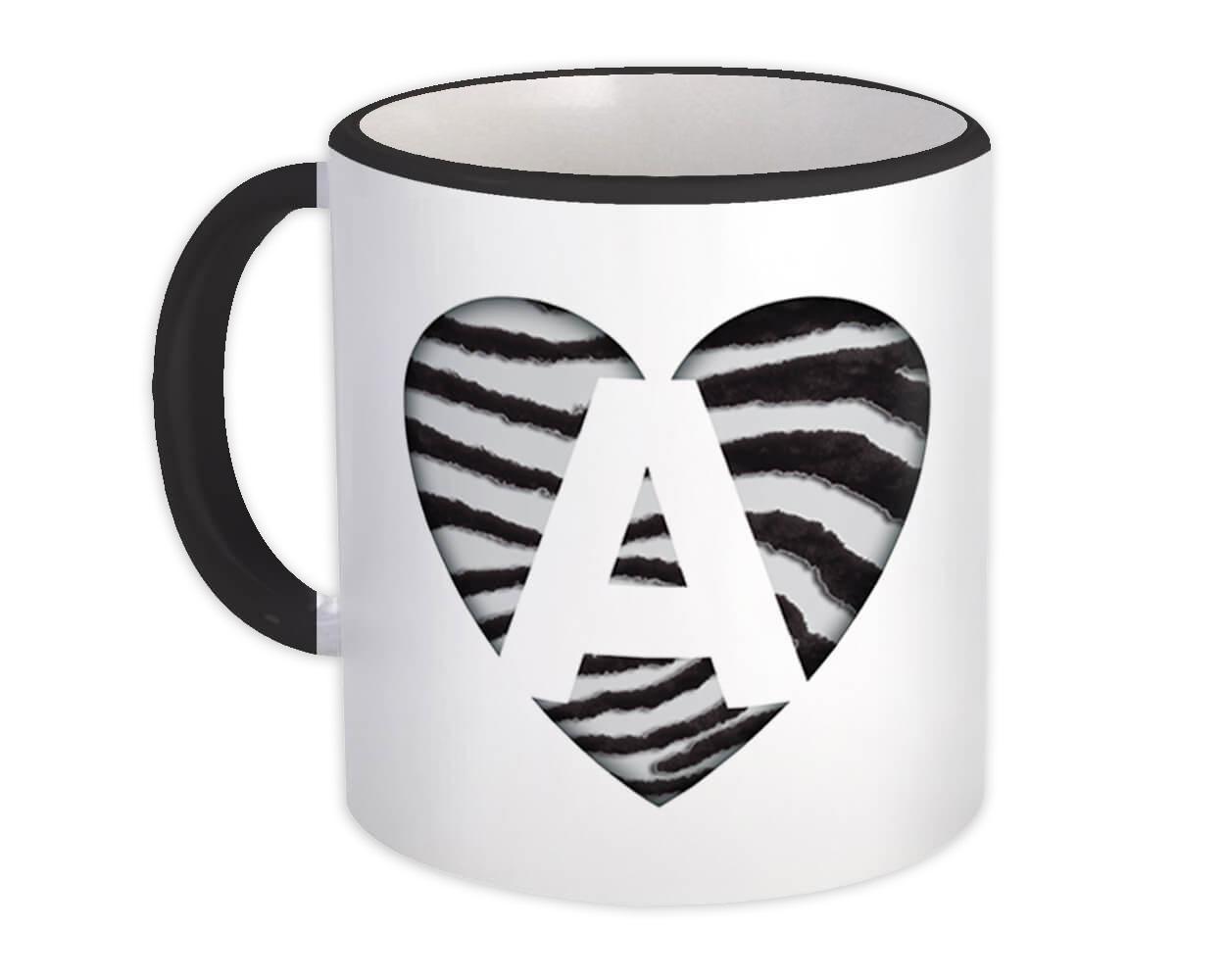Monogram Letter A : Gift Mug Zebra Letter Initial ABC Animal Heart