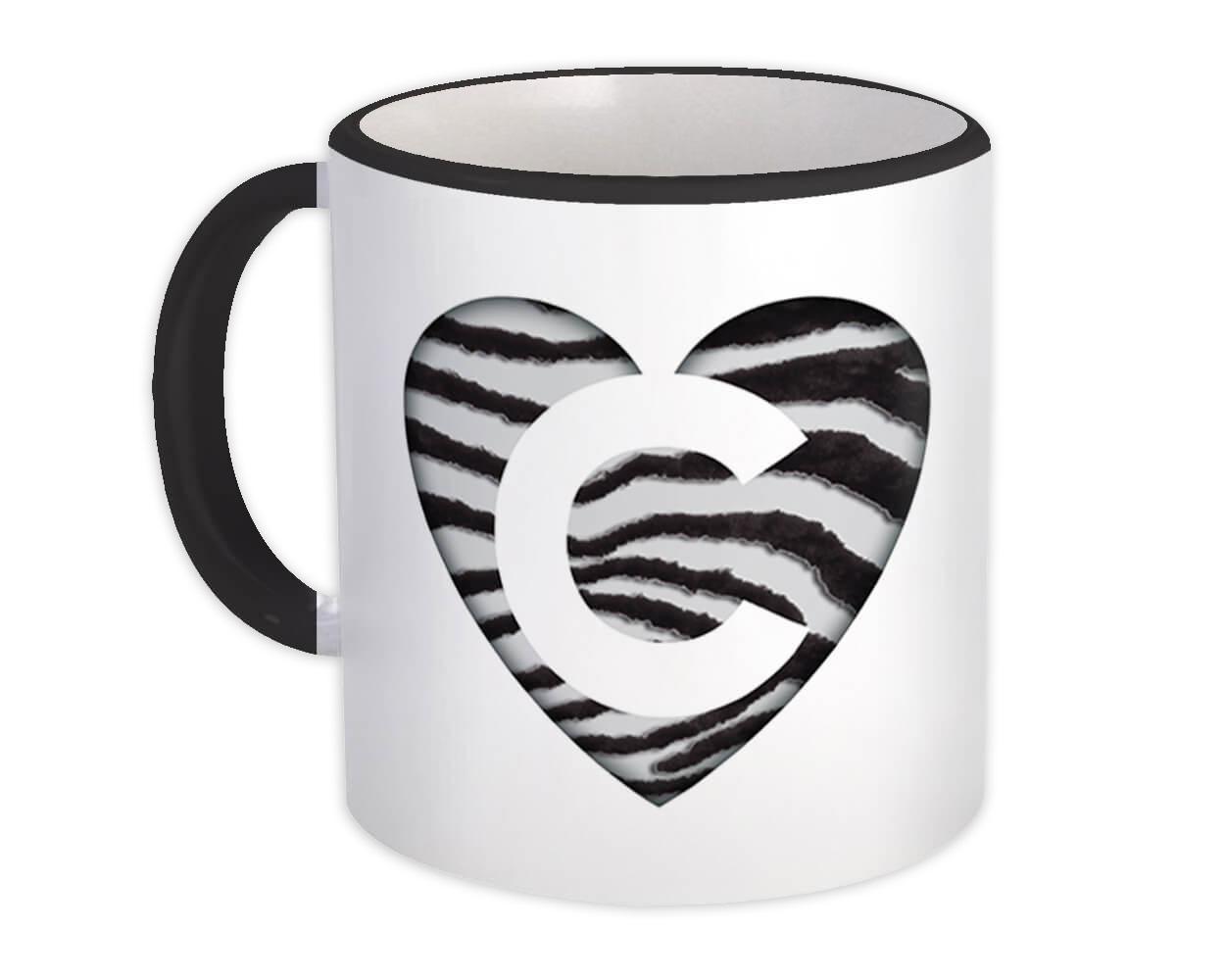 Monogram Letter C : Gift Mug Zebra Letter Initial ABC Animal Heart