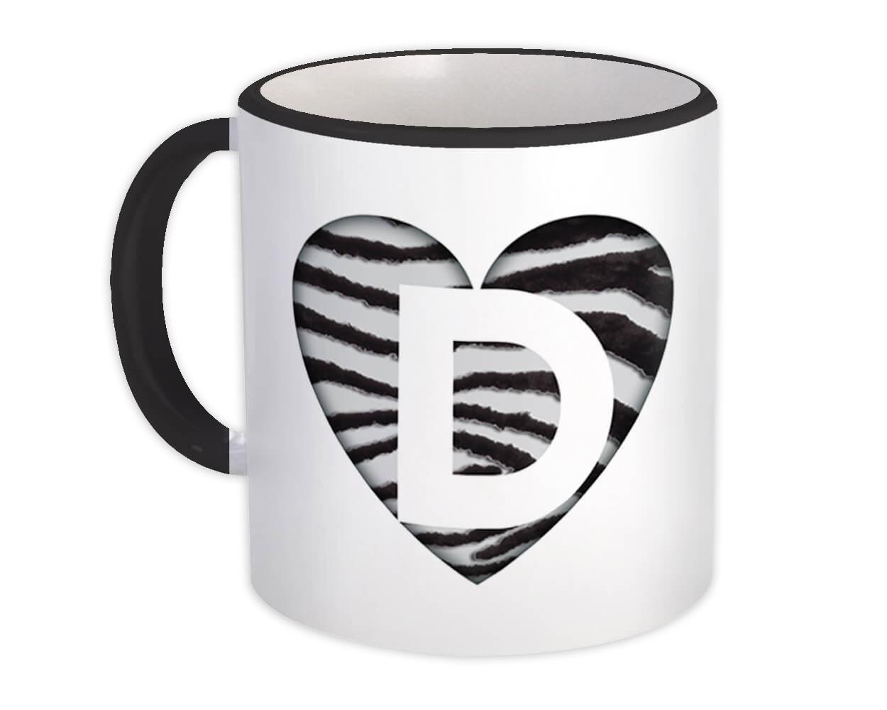 Monogram Letter D : Gift Mug Zebra Letter Initial ABC Animal Heart
