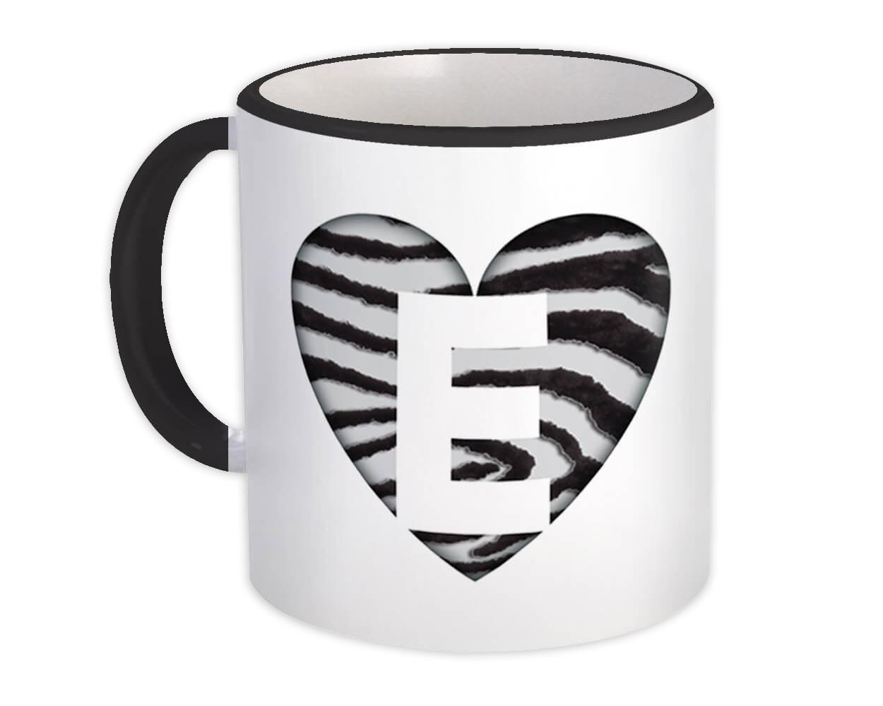 Monogram Letter E : Gift Mug Zebra Letter Initial ABC Animal Heart