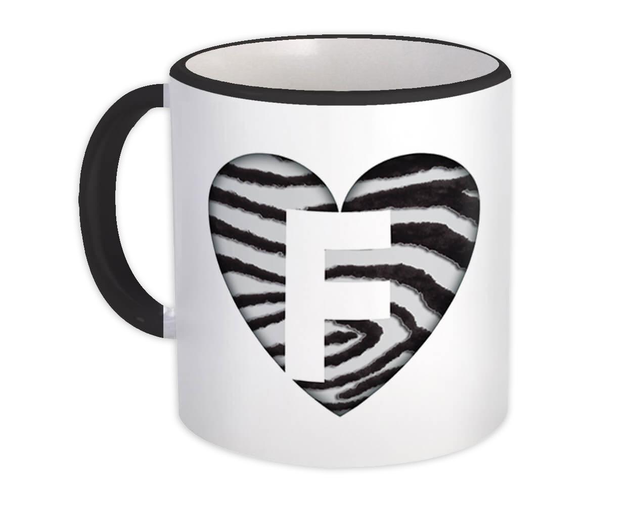 Monogram Letter F : Gift Mug Zebra Letter Initial ABC Animal Heart