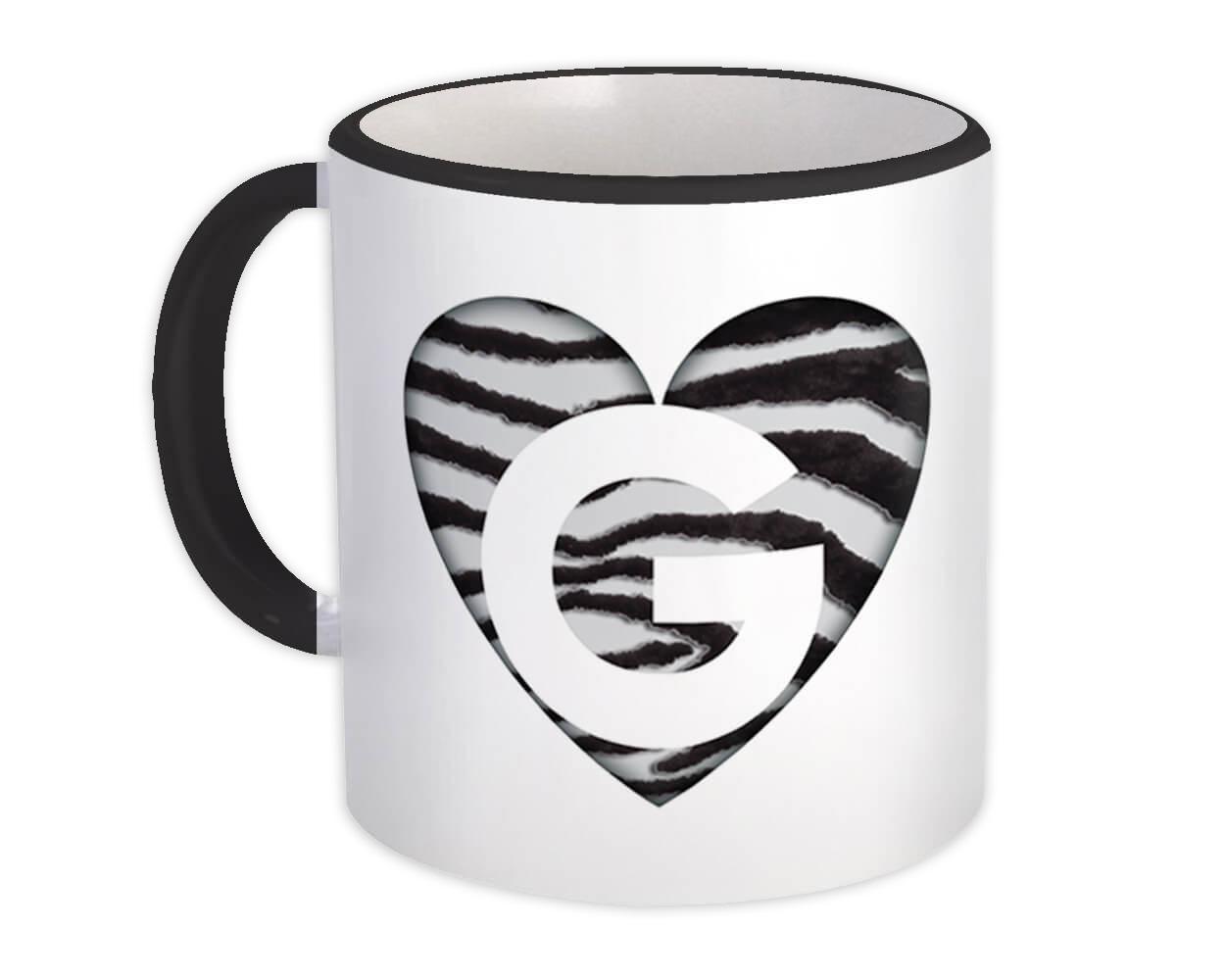 Monogram Letter G : Gift Mug Zebra Letter Initial ABC Animal Heart