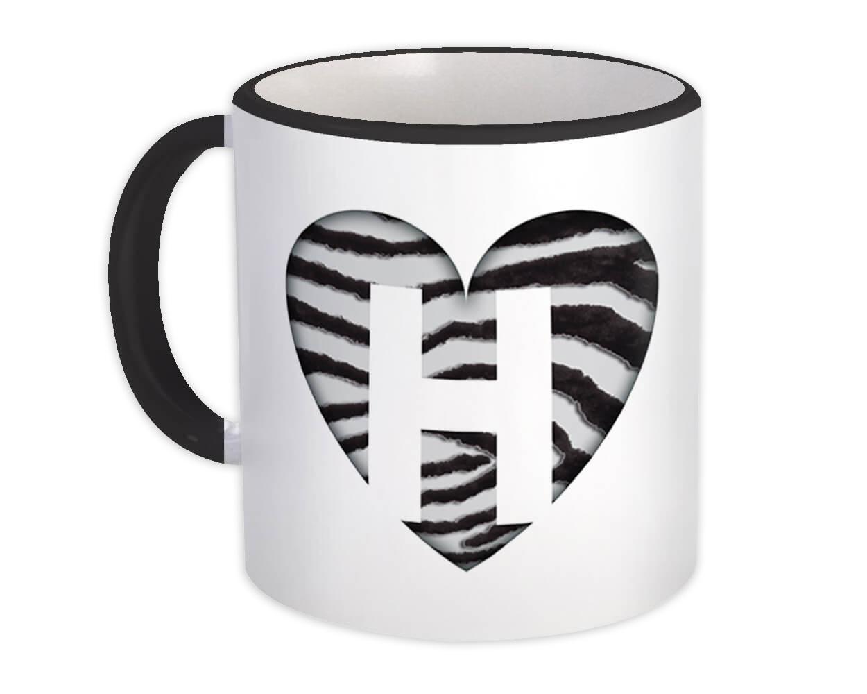 Monogram Letter H : Gift Mug Zebra Letter Initial ABC Animal Heart