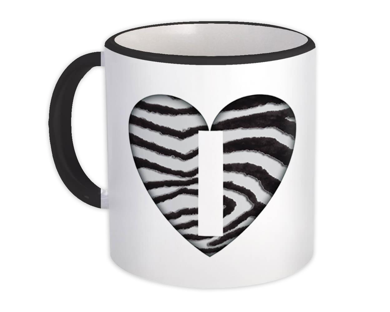 Monogram Letter I : Gift Mug Zebra Letter Initial ABC Animal Heart