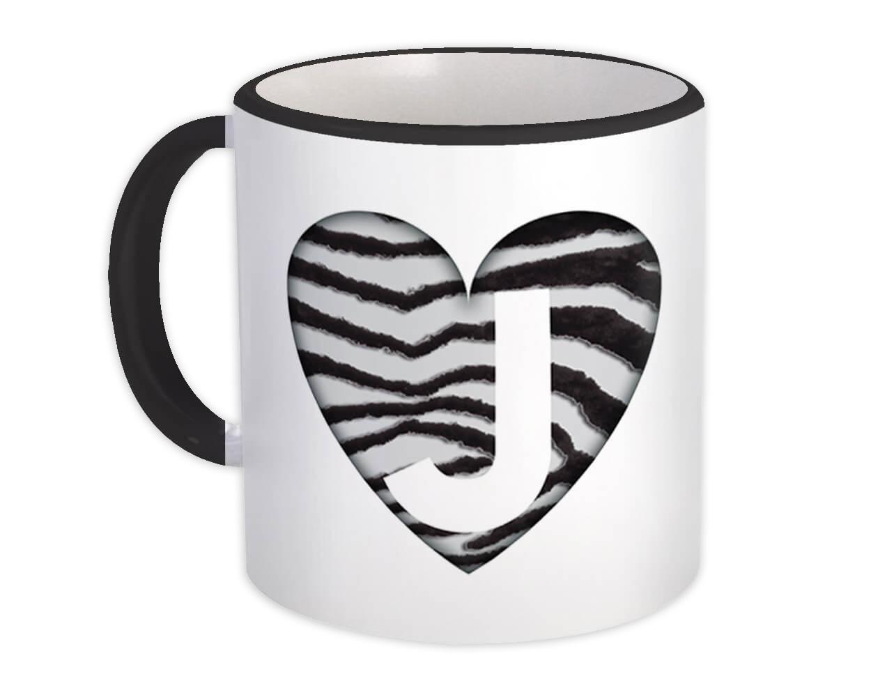 Monogram Letter J : Gift Mug Zebra Letter Initial ABC Animal Heart