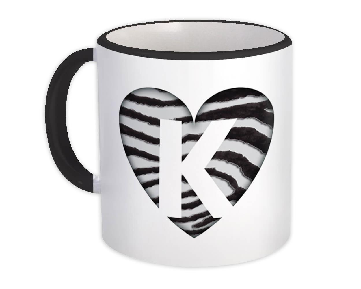 Monogram Letter K : Gift Mug Zebra Letter Initial ABC Animal Heart