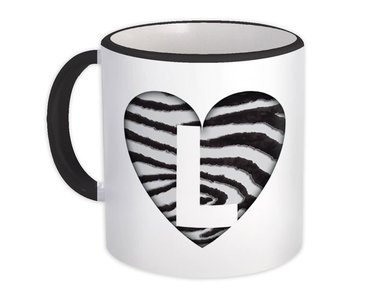 Monogram Letter L : Gift Mug Zebra Letter Initial ABC Animal Heart