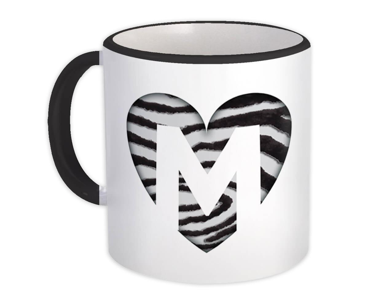 Monogram Letter M : Gift Mug Zebra Letter Initial ABC Animal Heart