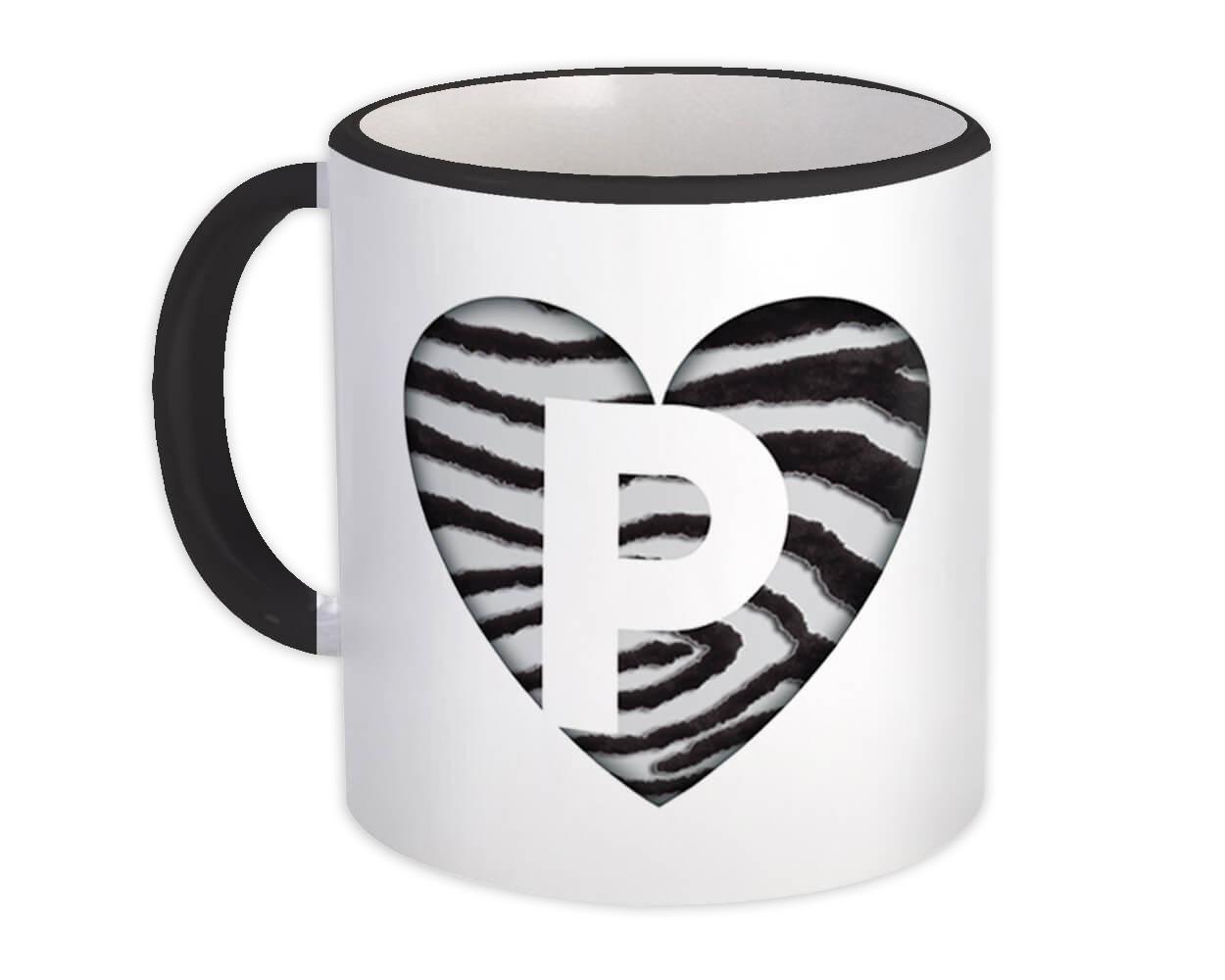 Monogram Letter P : Gift Mug Zebra Letter Initial ABC Animal Heart