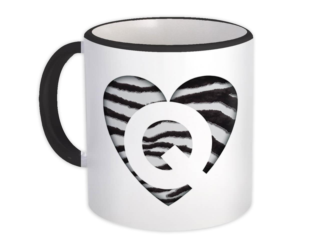 Monogram Letter Q : Gift Mug Zebra Letter Initial ABC Animal Heart