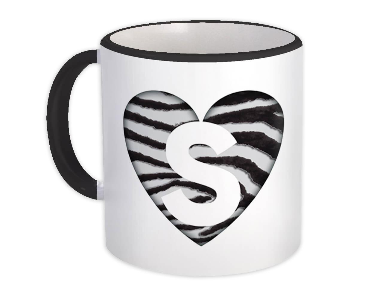 Monogram Letter S : Gift Mug Zebra Letter Initial ABC Animal Heart