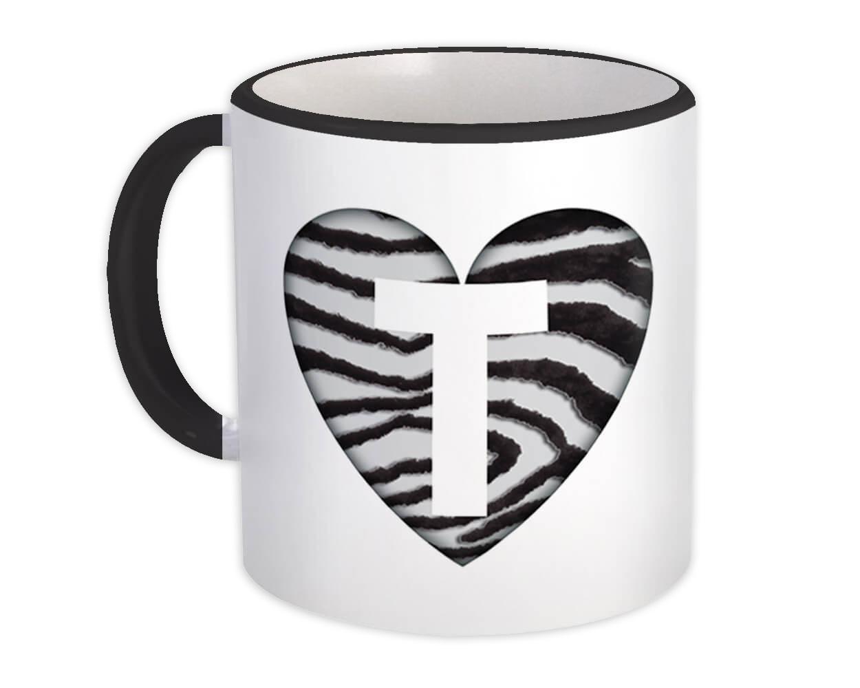 Monogram Letter T : Gift Mug Zebra Letter Initial ABC Animal Heart