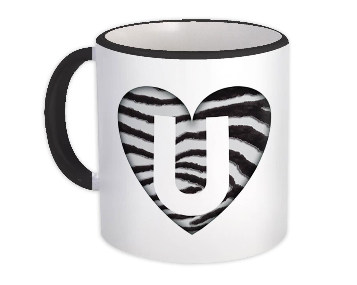Monogram Letter U : Gift Mug Zebra Letter Initial ABC Animal Heart