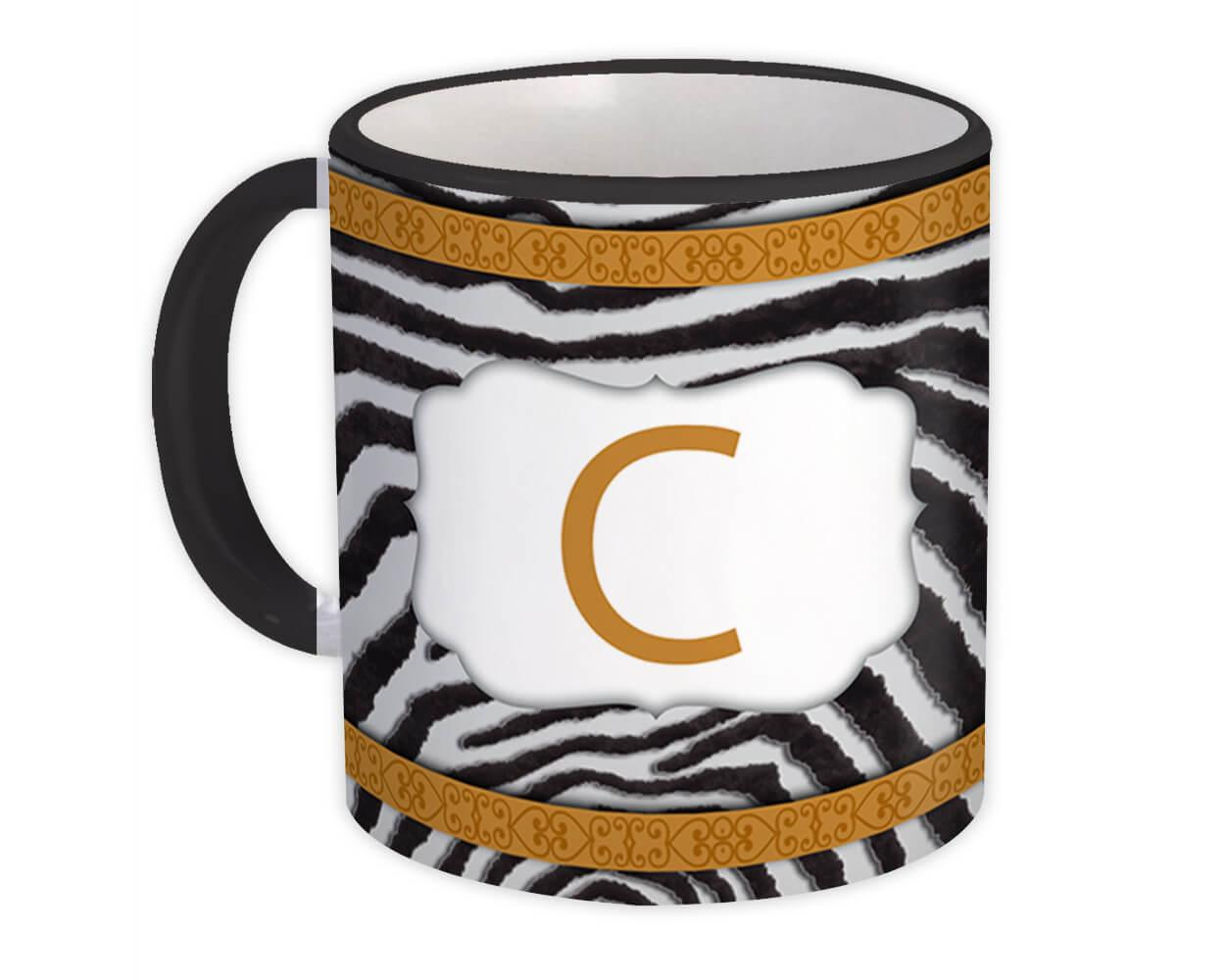 Monogram Letter C : Gift Mug Zebra Letter Initial ABC Animal Arabesque