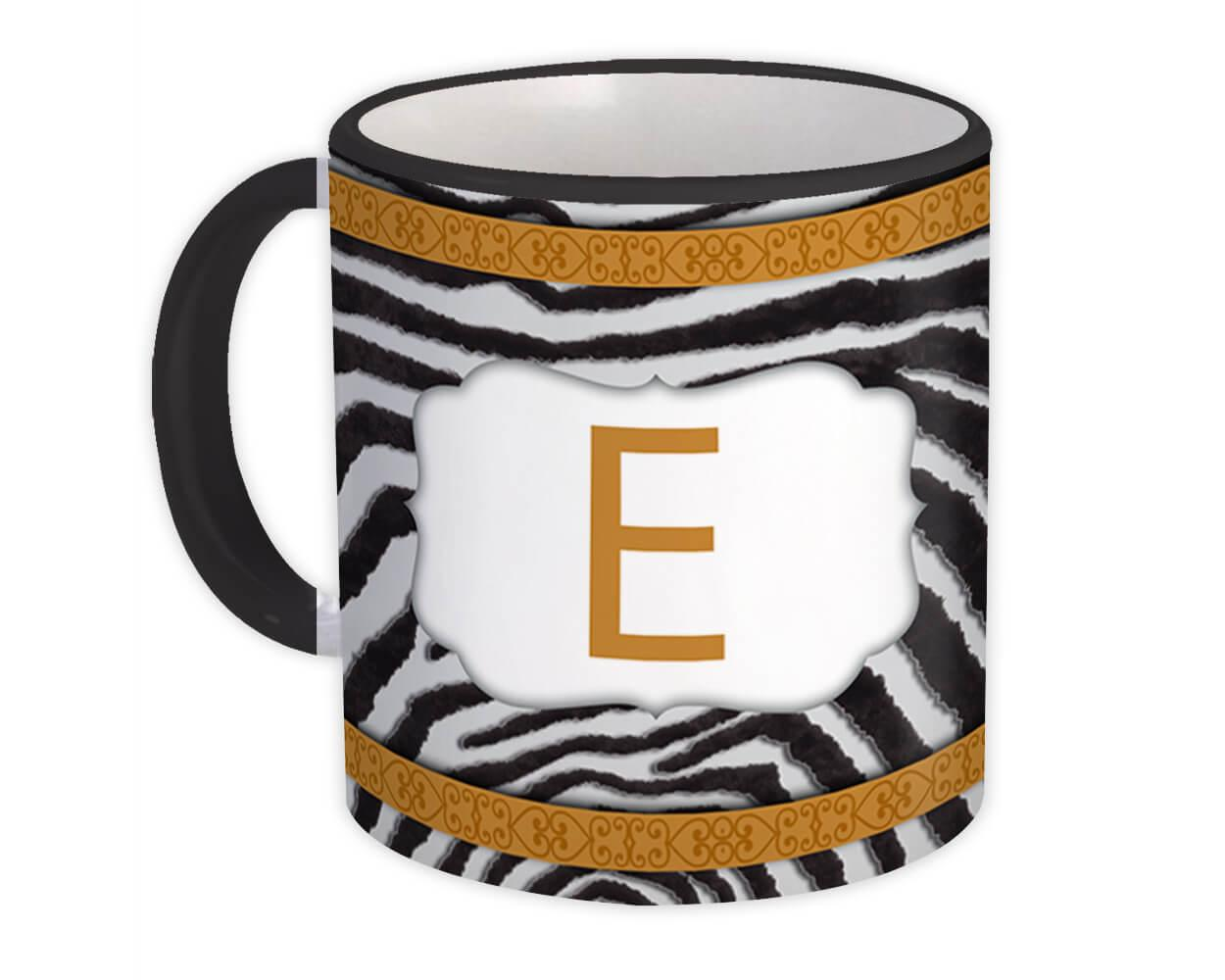 Monogram Letter E : Gift Mug Zebra Letter Initial ABC Animal Arabesque