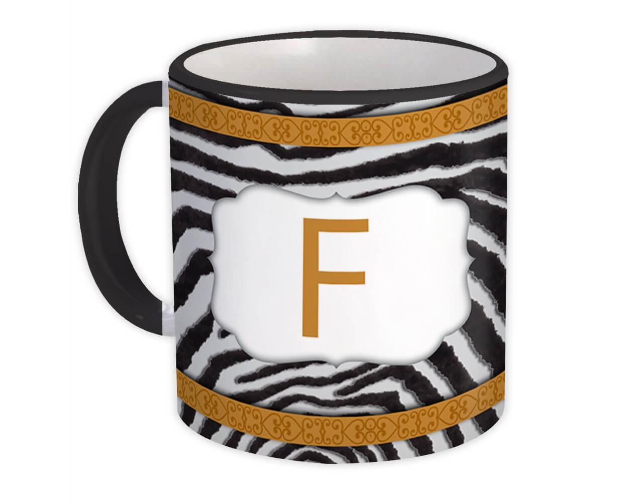 Monogram Letter F : Gift Mug Zebra Letter Initial ABC Animal Arabesque