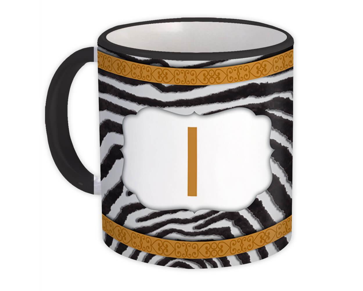Monogram Letter I : Gift Mug Zebra Letter Initial ABC Animal Arabesque