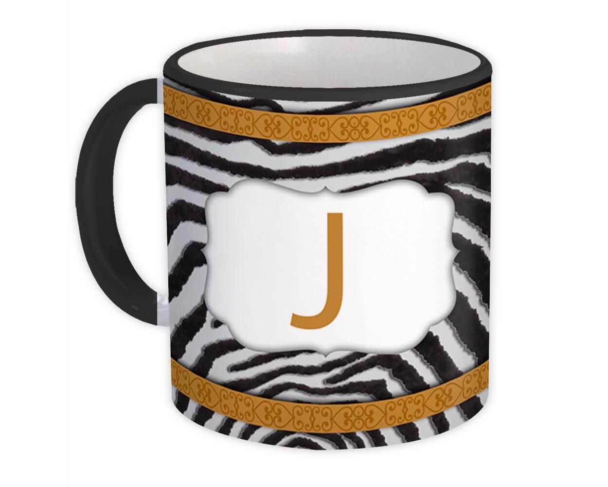 Monogram Letter J : Gift Mug Zebra Letter Initial ABC Animal Arabesque