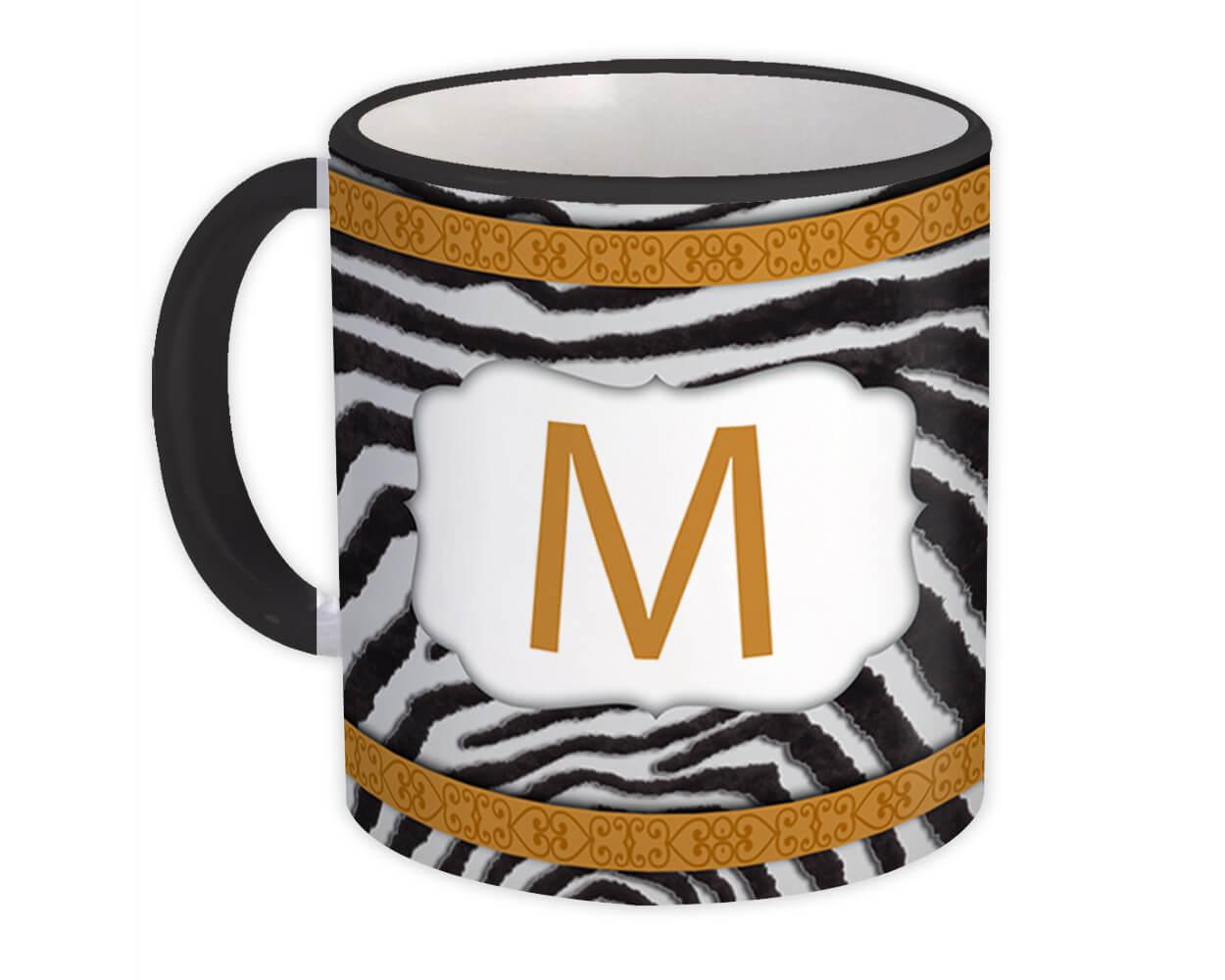 Monogram Letter M : Gift Mug Zebra Letter Initial ABC Animal Arabesque