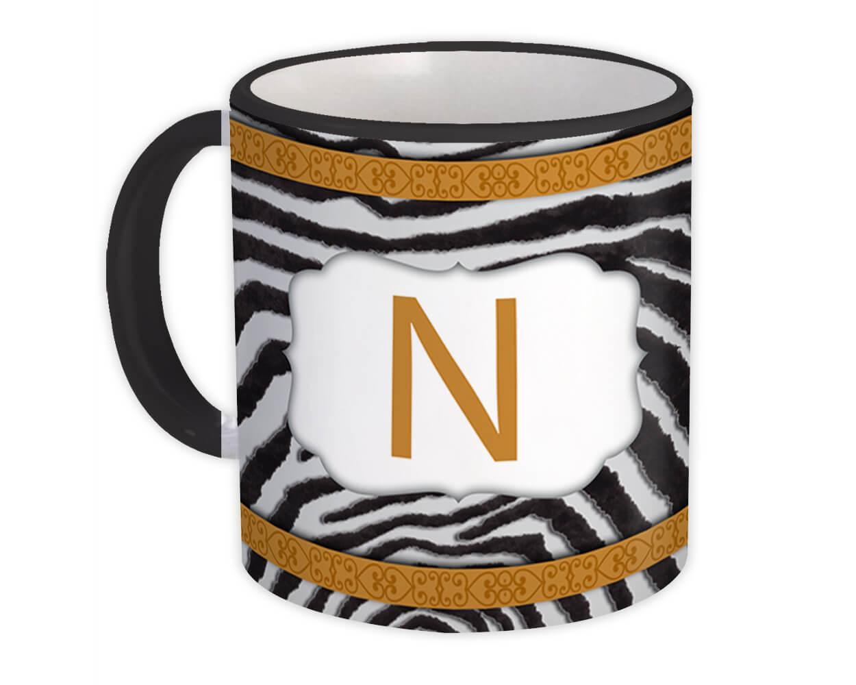 Monogram Letter N : Gift Mug Zebra Letter Initial ABC Animal Arabesque