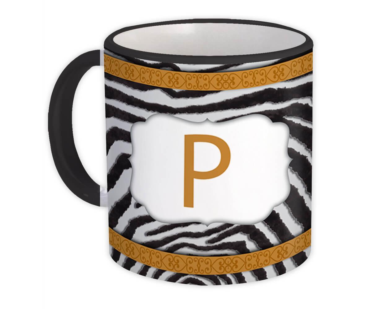 Monogram Letter P : Gift Mug Zebra Letter Initial ABC Animal Arabesque