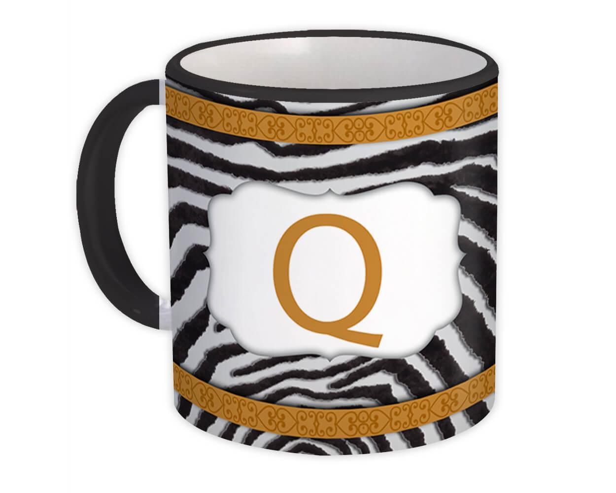Monogram Letter Q : Gift Mug Zebra Letter Initial ABC Animal Arabesque