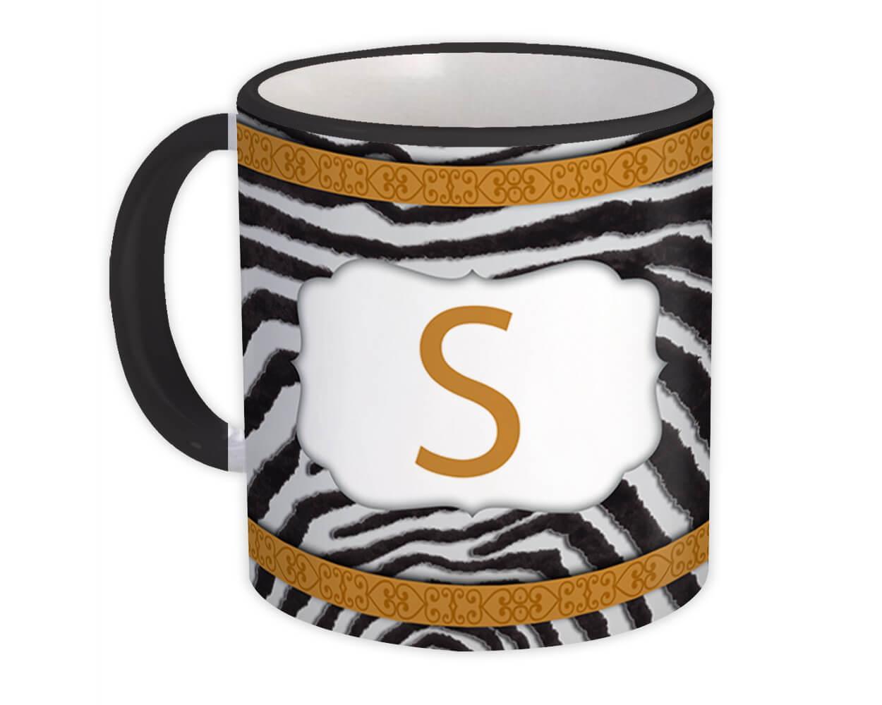 Monogram Letter S : Gift Mug Zebra Letter Initial ABC Animal Arabesque