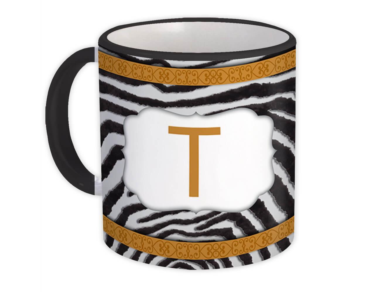 Monogram Letter T : Gift Mug Zebra Letter Initial ABC Animal Arabesque