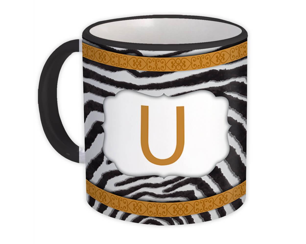 Monogram Letter U : Gift Mug Zebra Letter Initial ABC Animal Arabesque