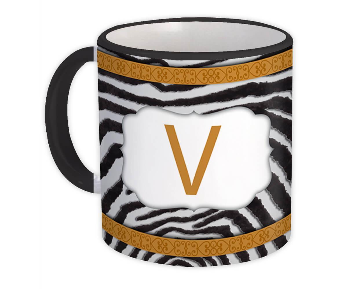Monogram Letter V : Gift Mug Zebra Letter Initial ABC Animal Arabesque