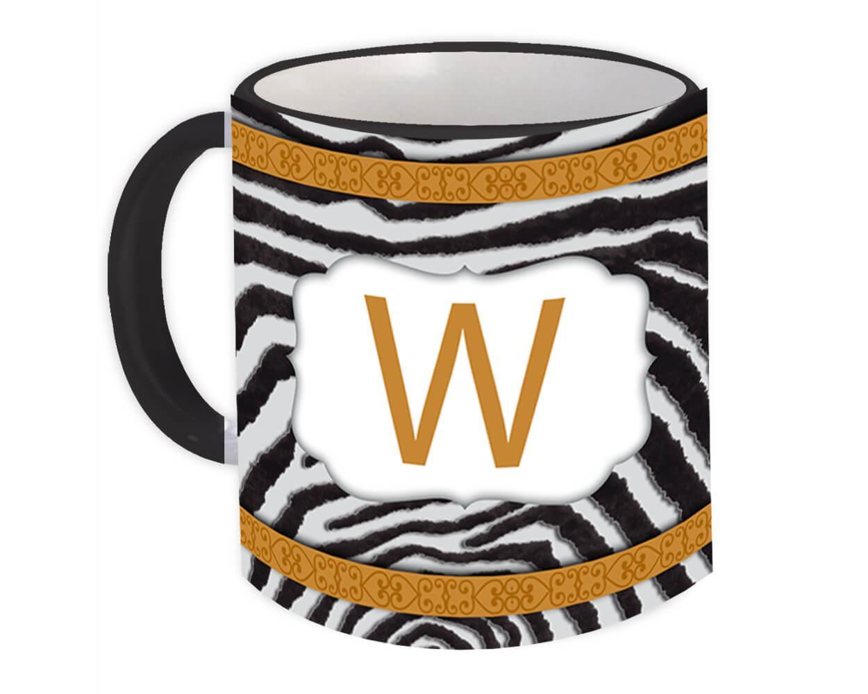 Monogram Letter W : Gift Mug Zebra Letter Initial ABC Animal Arabesque