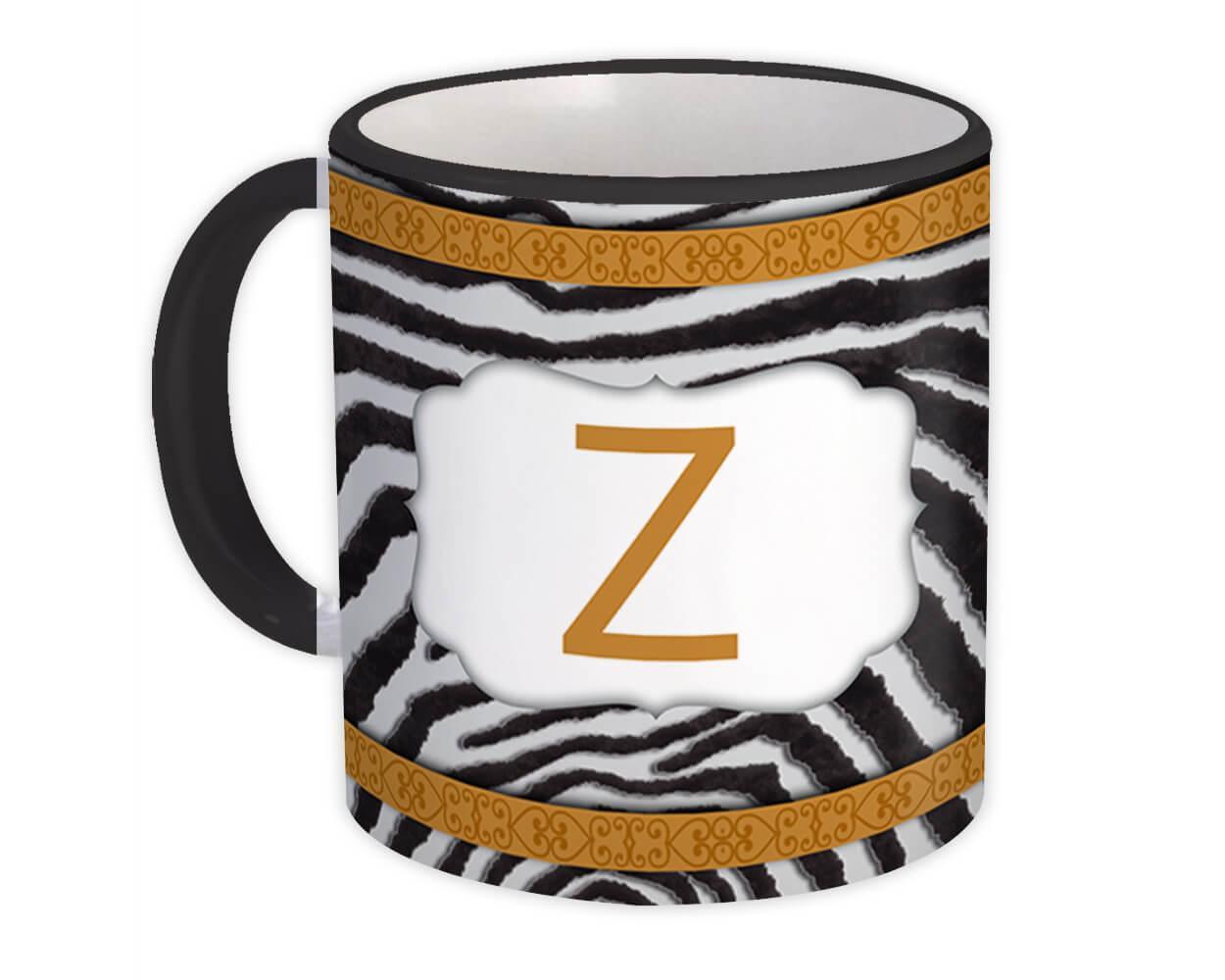 Monogram Letter Z : Gift Mug Zebra Letter Initial ABC Animal Arabesque
